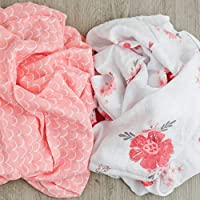 GRACED SOFT LUXURIES Muslin Swaddle Baby Blankets 2-Pack Softest Bamboo Baby Blanket (Summer Daisies)