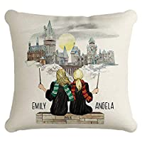 United Craft Supplies Custom Wizard Pillow Case, Personalized for Women, Teen Girls - Choose Your Hair-Skin Color - Graduation Gifts for Her 2020, Soul Sister Gifts, Burlap Fabric Sister Pillow Cover