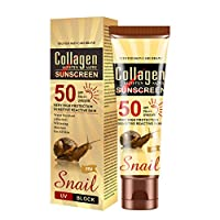Collagen Snail Sunscreen Moisturizing SPF 50 PA+++ Broad Spectrum UVA/UVB Protection, Water Resistant Whitening Sunscreen Cream for Body