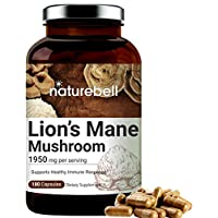 Lions Mane Supplements (Made with Lions Mane Mushroom), 1950mg Per Serving, 180 Capsules, Strongly Supports Healthy Immune System, No GMOs
