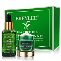 Acne Treatment, BREYLEE Tea Tree Oil 2 in 1 Acne Solution Kit Acne Treatment Kit Acne Control Kit Anti-Acne Solution for Clearing Severe Acne, Breakout, Pimple, and Repairing Skin