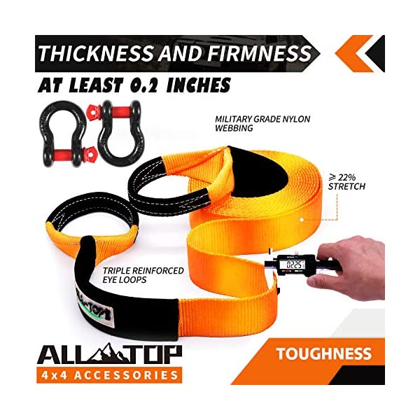 + Storage Bag 3//4 Extreme Duty D Ring Shackles 2pcs 100/% Nylon and 22/% Elongation Snatch Strap ALL-TOP Extreme Duty Tow Strap Recovery Kit : 4 inch x 20 ft 42,500 lbs A Must-Have KIT