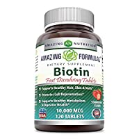 Amazing Formulas Biotin Fast Dissolving Tablets-10000MCG Tablets(Non-GMO,Gluten Free)-Supports Healthy Hair, Skin & Nails - Promotes Cell Rejuvenation - Supports Healthy (120 Count, Strawberry Flavor)