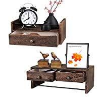 X-cosrack Floating Shelves with Drawer, Nightstand Bedside Shelf Set of 2, Wall Mounted Rustic Wood Shelf with Towel Holder, Bathroom Kitchen Living Room Bedroom Wall Mount Storage Display Shelves