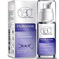 Hyaluronic Acid Serum for Face by 180 Cosmetics - Strong for Age 30+ w/ 3 Layers of HA and Vitamins For Toned Radiant Plumped and Hydrated Skin with Visibly Diminished Fine Lines and Wrinkles - 1 oz