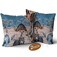 Nine City Funny Collage of Animals Living in Australia Emu,Throw Pillow Cushion Covers Pack of 2 Koala Sofa Bed Throw Cushion Cover Decoration 14