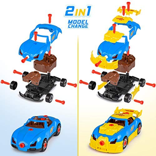 26PCS Coogam Take Apart Racing Car with Electric Dril Fine Motor Skill Toy Car Construction Set STEM Building Learning Game with Lights and Sounds Gifts for 3 Year Old Boys and Girls