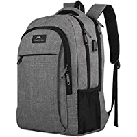 Travel Laptop Backpack, Business Anti Theft Slim Durable Laptops Backpack with USB Charging Port, Water Resistant College School Computer Bag Gifts for Men & Women Fits 15.6 Inch Notebook, Grey
