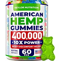 KEYLOR NUTRITION Premium Hemp Gummies 400,000 – All Natural Ingredients - Relief for Stress, Inflammation, Sleep, Anxiety, Depression – Vitamins & Omega 3,6,9 – Made in The USA - 60 pcs
