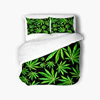 Qewhyn 3pc Duvet Cover Green Plants Crowd Cannabis Leaves Black Watercolor Plant Queen 100% Brushed Microfiber Bedding Quilt Soft Breathable Belt Zipper Closure Corner Tie