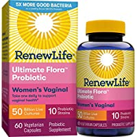 Renew Life Women's Probiotics 50 Billion CFU Guaranteed, 10 Strains, Shelf Stable, Gluten Dairy & Soy Free, 60 Capsules,  Ultimate Flora Women's Vaginal