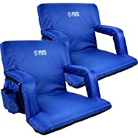 Brawntide Wide Stadium Seat Chair - Extra Thick Padding, Reclining Back, Bleacher Attachment, Shoulder Straps, 4 Pockets, Ideal for Sporting Events, Beaches, Parks, Camping