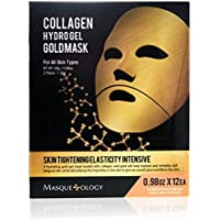 Masqueology - Gold Collagen Hydro-Gel Mask | Skin Tightening, Firming, and Anti-Aging Skincare Face Mask (12 Pack)
