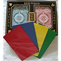 2 Free Cut Cards + KEM Arrow Red Blue Playing Cards Poker Size Regular Index