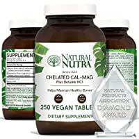 Natural Nutra Calcium Magnesium Supplement Plus Betaine HCL, 1000/500 mg Cal Mag Vitamin, Chelated for Optimal Absorption, Supports Bone, Teeth, Muscle and Nerve Health, 250 Vegan Tablets
