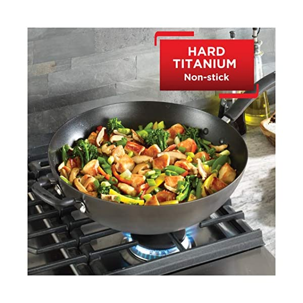 Wok Ultimate Hard Anodized Grey 14 Inch T-fal E76589 Nonstick 14 in Black