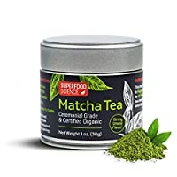 Superfood Science Organic Ceremonial Matcha Green Tea Powder, Authentic USDA Organic Japanese Matcha Tea Powder, Non GMO, 30 g Tin Can