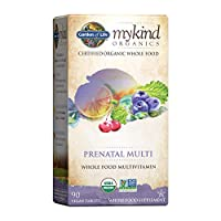 Garden of Life Organic Prenatal Multivitamin Supplement with Folate - mykind Whole Food Prenatal Vitamin, Vegan, 90 Tablets