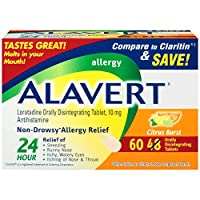 Alavert Allergy 24-Hour Relief (Citrust Burst Flavor Orally Disintegrating Tablets), Non-Drowsy, Antihistamine, 60 Count (Pack of 1)