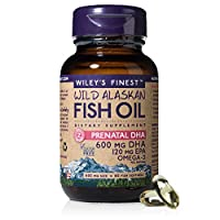 Wiley's Finest Wild Alaskan Fish Oil - Prenatal Mini DHA, 720mg EPA + DHA Omega-3s, 60 Softgels