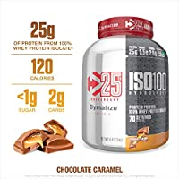 Limited Time Offer - Dymatize ISO100 Hydrolyzed Protein Powder, 100% Whey Isolate Protein, 25g of Protein, 5.5g BCAAs, Gluten Free, Fast Absorbing, Easy Digesting, Chocolate Caramel, 5 Pound