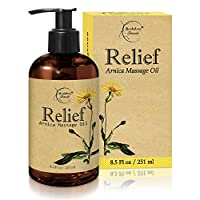 Relief Arnica Massage Oil – Great for Sports & Athletic Therapeutic Massage – All Natural - Arnica Montana for Sore Muscle Relief. Contains Sweet Almond, Jojoba, Grapeseed & Essential Oils 8.5oz