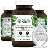 Natural Nutra Evening Primrose Oil Supplement from Fatty Acid, Non-GMO, Cold Pressed, 500 mg, 180 Softgels
