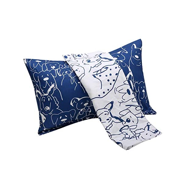 Kids Toddler Pillowcases UOMNY 2 Pack 100/% Cotton Pillow Covers 13 x 18 for Kids Bedding Blue Line//Dot