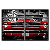 8 Huge Piece Red Ford Mustang 1964 Wall Art Decor Picture Painting Poster Print on Canvas Panels Pieces - Vintage Car Theme Wall Decoration Set - Muscle Car Wall Picture for Living Room Showroom