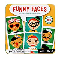 Petit Collage Silly Funny Faces Magnetic On-The-Go Travel Play Set, Multicolor