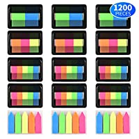 Kotl 1200 Pieces Page Markers Neon Colored Pop-up Index Tabs Neon Flag Sticky Notes, 15 Sets 4 Sizes