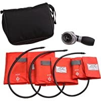 ADC Multikuf 731 3-Cuff EMT Kit with 804 Portable Palm Aneroid Sphygmomanometer, Small Adult, Adult and Large Adult Blood Pressure Cuffs (19-50 cm), Black Nylon Zipper Storage Case, Orange