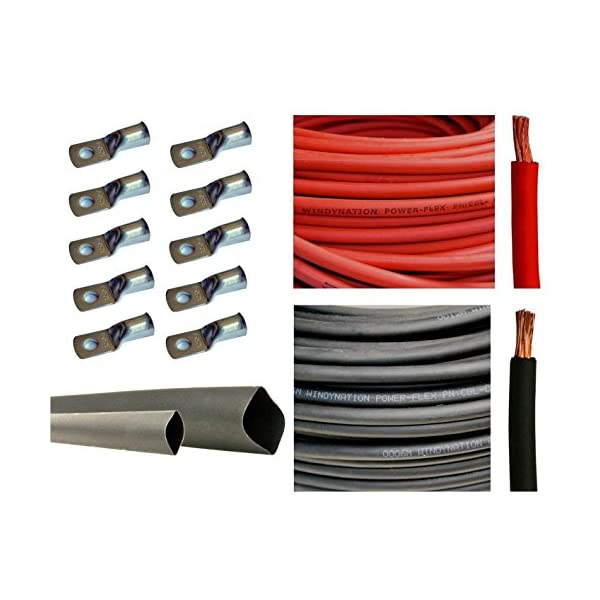 3 Feet Black Heat Shrink Tubing 10pcs of 3//8 Tinned Copper Cable Lug Terminal Connectors 2 Gauge 2 AWG 10 Feet Red 10 Feet Black Welding Battery Pure Copper Flexible Cable