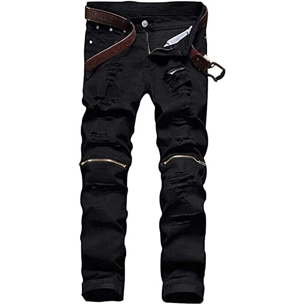 Littleice Mens Hole Denim Pant Jeans Stretchy Ripped Skinny Biker Jeans Destroyed Taped Slim Denim Pants with Hole for Men