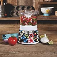 Stylish and Eye Catching Pioneer Woman 3 Cup Stack & Press Glass Bowl Chopper Fiona Floral,Speeds up Food Prep by Taking Care of the Chopping,Mincing and Mixing for You