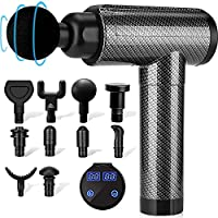 Muscle Massage Gun Deep Tissue for Athletes, Percussion Electric Massagers for Neck Back, Shoulder Body Pain Relief, 30 Speeds Quiet Handheld Massager, LCD Touch Screen with 10 Heads