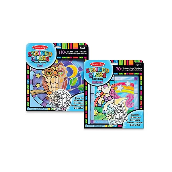 Melissa /& Doug Stained Glass Made Easy Activity Kits Set Stickers Melissa and Doug 93253 180 Owl and Unicorn