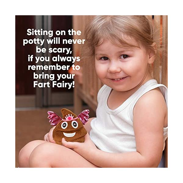 Makes 7 Funny Fart Sounds Squeeze to Activate Fart Fairy Poop Emoji Cute Stuffed Dog Toys or Gifts for Girls Childrens Potty Training Buddy Size 4 x 4.5 Fun Farting Soft Plush Toy for Kids