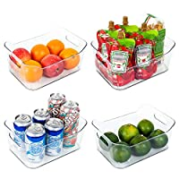 Vtopmart Refrigerator Organizer Bins 4 Pack - Clear Small Plastic Food Organizer with Handle for Fridge, Freezer, Cabinet, Kitchen Pantry Organization and Storage, BPA Free, 9.5