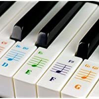Color Piano Stickers for 49/61/ 76/88 Key Keyboards – Transparent and Removable: Made in USA