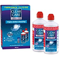 Clear Care Cleaning & Disinfecting Solution with Lens Case, Twin Pack, 12-Ounces Each, 12 Fl. Oz (Pack of 2)