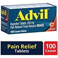 Advil Coated Tablets Pain Reliever and Fever Reducer, Ibuprofen 200mg, 100 Count, Fast-Acting Formula for Headache Relief, Toothache Pain Relief and Arthritis Pain Relief