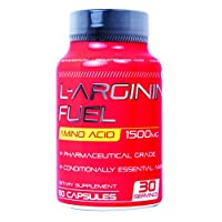 L-arginine Fuel Extra Strength L Arginine - 1500mg Nitric Oxide Supplement for Muscle Growth, Vascularity and Energy - L-Arginine Essential Amino Acid to Support Physical Endurance & Wellness 60 Caps