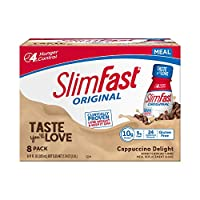 SlimFast Original Cappuccino Delight Shake – Ready to Drink Weight Loss Meal Replacement – 10g of protein –  11 fl. oz. Bottle – 8 Count