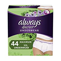 Always Discreet Incontinence & Postpartum Underwear for Women, Disposable, Maximum Protection, XXL, 22 Count, Pack of 2