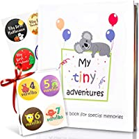 Baby Memory Book - First 5 Years Photo Album, Journal & Scrapbook + 28 FREE Monthly & Milestone Stickers. Modern Baby Shower Gift for Girl or Boy. 54 Pages + Gift Box & Keepsake Envelope by Tiny Gifts
