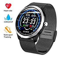 FSM88 Pedometer Watch, Multi-Function Sports Tracker, Heart Rate Blood Pressure Monitoring, Metal Strap Waterproof Treatment for Android/iOS