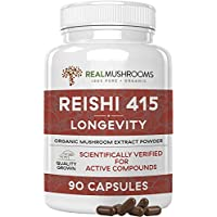 Reishi 415 Longevity Capsules (90ct), 500mg Organic Reishi Mushroom Capsules, Reishi Mushroom Extract, 45-Day Supply of Reishi Mushroom Supplements