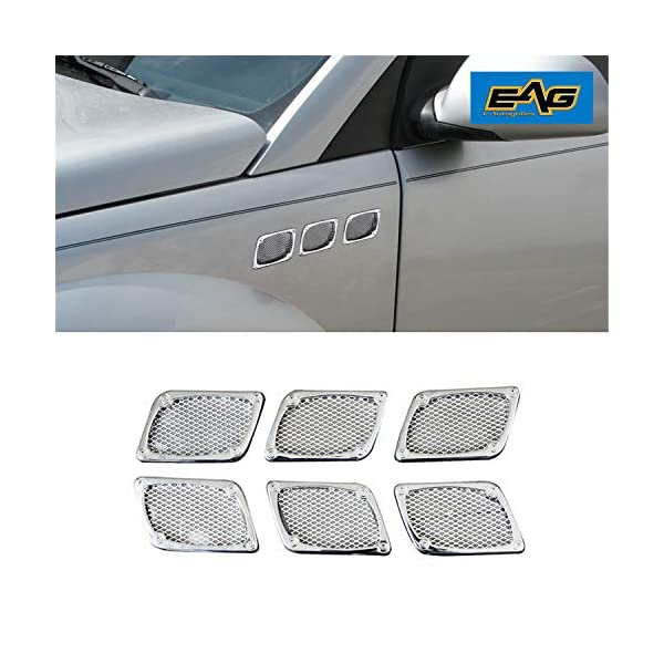 chrome silver 2Pcs Universal Car Side Air Flow Vent Fender Cover,Keenso Intake Grille Duct Decoration Sticker