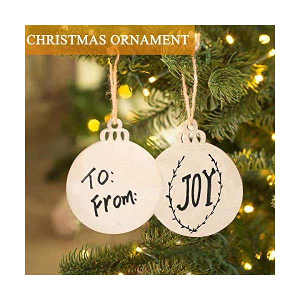 Jolik 40 Pieces Wooden Ornaments Unfinished 3.5Round Blank Wood Discs for DIY Christmas Ornaments
